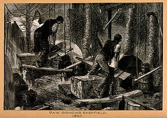 Saw - Saw grinding in Sheffield, 1860.