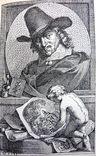 "Adriaen van Ostade - Engraved portrait of Adriaen van Ostade, shown with a few of his more famous works, by Arnold Houbraken in his ""Schouburg"", volume I, 1718."