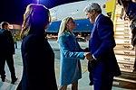 Secretary John Kerry Greets U.S. Ambassador to Austria Alexa Wesner After Deplaning at Vienna International Airport (26954222202).jpg