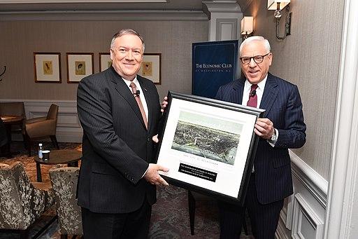 Secretary Pompeo Poses with David Rubenstein at the Economic Club of Washington (48405136517)