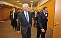 Secretary of Defense Leon E. Panetta arrives with Ambassador Ivo Daalder at NATO Headquarters in Brussels, Belgium, to attend meetings with fellow defense ministers (3).jpg