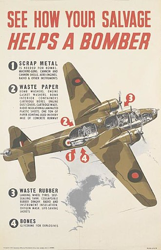 Vickers Wellington - A war time poster using a cutaway of a Vickers Wellington to illustrate how scrap and salvage was recycled for use in the production of war material. The poster expands on how different materials were used to make specific components of the bomber.