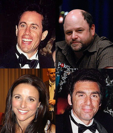 The main cast of Seinfeld, which aired from 1989 to 1998 on NBC Seinfeld actors montage.jpg