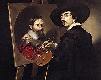 Nicolas Régnier - Self-Portrait with a Portrait on an Easel, 1623-4