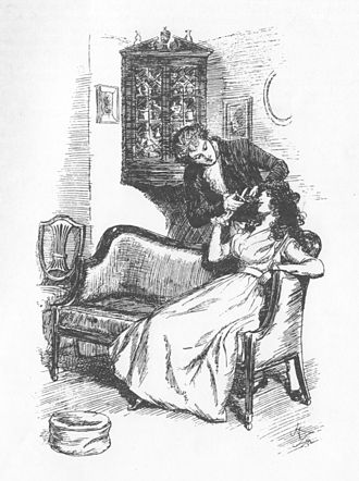 Sense and Sensibility - A 19th-century illustration by Hugh Thomson showing Willoughby cutting a lock of Marianne's hair