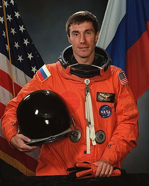 "Pilot-Cosmonaut of the USSR - Veteran of six space flights, ""Pilot-Cosmonaut of the USSR"" Sergei Krikalev (2004 photo)"