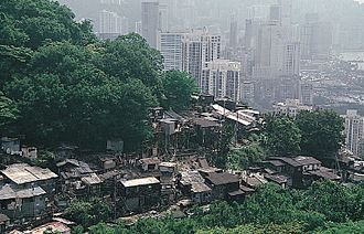 Shanty town - Shanty towns may be large or small settlements. Above shanty town is in Hong Kong.
