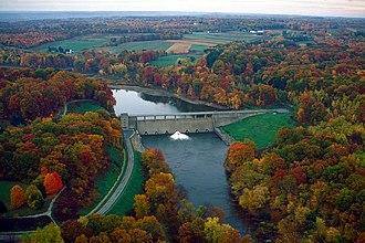 Shenango River - The Shenango River, flowing from the dam of Shenango River Lake in South Pymatuning Township, Mercer County, Pennsylvania