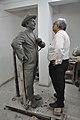 Shrikant Pathak Inspecting Raj Kapoor Sculpture - Kolkata 2017-08-08 4159.JPG