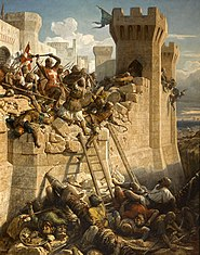 The Marshal of the Hospitallers, Mathieu de Clermont, defends the walls of Acre.  Illustration from the 19th century