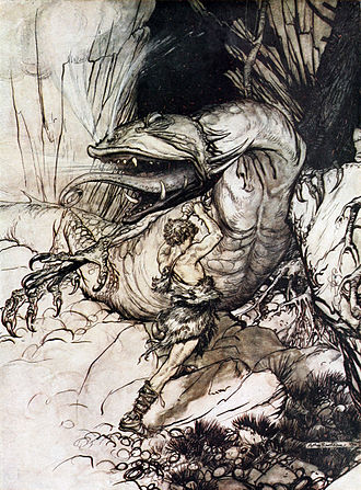 The dragon (Beowulf) - Sigurd and Fafnir by Arthur Rackham, from his 1911 illustrations for Richard Wagner's Siegfried and The Twilight of the Gods