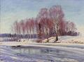 Sigvard Hansen - Vinterlandskab med en gruppe birketræer ved elven. Torsby. Värmland - 1921.png