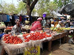 Women merchants sell tomatoes, fruit, nuts and used clothing in stalls and on tables at the Sikasso Market, February 2008.