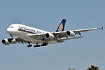 Singapore Airlines, Airbus A380-841, 9V-SKM - LAX (19043938872).jpg
