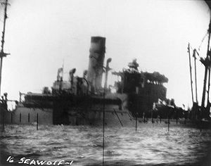 Sargo-class submarine - Periscope photo of a Japanese merchant ship torpedoed by Seawolf sinking.