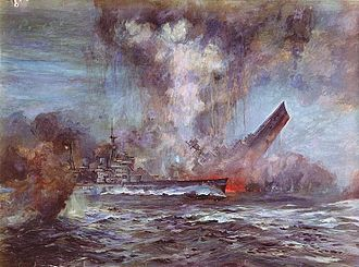 HMS Hood - Painting by J.C. Schmitz-Westerholt, depicting Hood sinking stern first; Prince of Wales is in the foreground