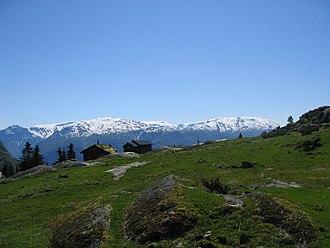 Leikanger - View of a small mountain farm