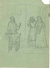 Sketch of an Interior with Two Crying Woman and a Man