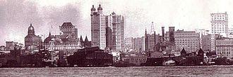 Park Row Building - Manhattan skyline 1902 - Park Row building at center