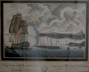 Battle of Alvøen - Tartar (with several of her cannonballs landing in the water behind the gunboats) and the five gunboats (flying the Danish flag) at the entrance to Alvøen - this image hangs in Alvøen's hovedbygning.