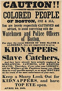 "Boston poster, the colored warns of the ""slave catchers"" of the Boston police"