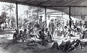Honório Hermeto Carneiro Leão, Marquis of Paraná - Slaves resting on their way to farms for which they were purchased. Honório Hermeto's political party had close links to planter families and merchants for whom slavery was a key component of their operations.