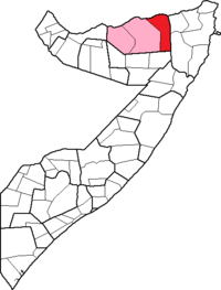 Location of Las Khorey District within the Sanaag region.