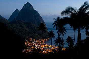 The village of Soufriere lit up as night falls...
