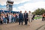 Soyuz MS-15 prime crew members at Krayniy Airport.jpg