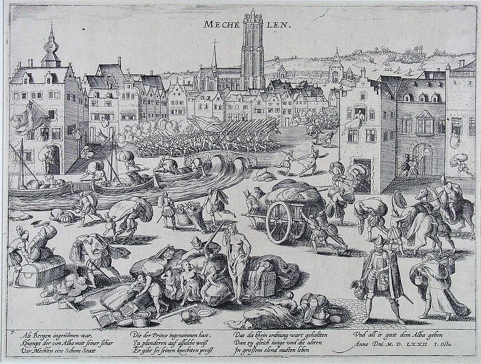 Spaanse Furie - De plundering van Mechelen door de hertog van Alba in 1572 (Frans Hogenberg)