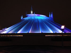 Space Mountain (Disneyland) - Exterior at night