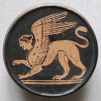 Sphinx - Sphinx. Attic red-figure pyxis, 2nd half of the 5th century BC. From Nola (Italy)