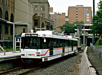 MetroLink (St. Louis) - Brand-new Siemens SD-400 unit on the then-newly opened MetroLink system in 1993.