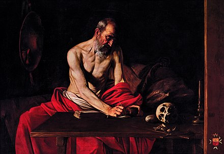 St Jerome, by Michelangelo Merisi da Caravaggio, 1607, at St John's Co-Cathedral, Valletta, Malta St Jerome by Michelangelo Merisi da Caravaggio.jpeg