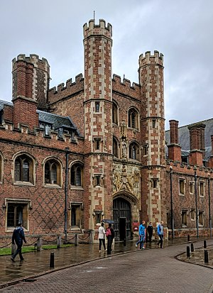 St John's College, Cambridge - The Main Gate of St John's College on St John's Street, decorated with the arms of the foundress.