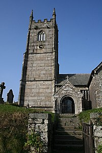 St Mellion Church Tower and South Porch - geograph.org.uk - 1223702.jpg