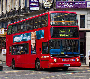East London (bus company) - Alexander ALX400 bodied Dennis Trident 2 on route 15 at Ludgate Circus in May 2011