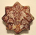 Star Tile with Griffins and Birds amid Arabesque, late 12th - early 13th century, Saljuq-Atabeg period, Kashan, Iran - Sackler Museum - DSC02484.JPG