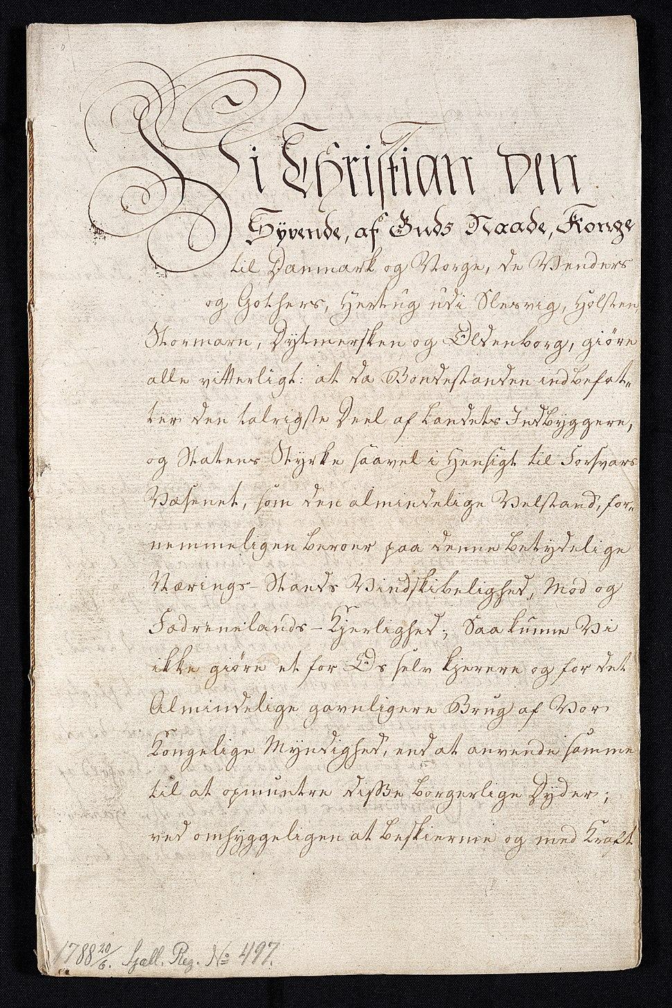 Stavnsbåndet ophæves - dokumentets forside