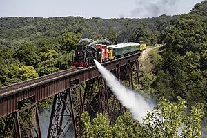 Boone and Scenic Valley Railroad -  BSVY train crosses the Bass Point Creek High Bridge.