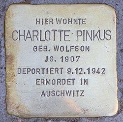 Photo of Charlotte Pinkus brass plaque