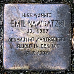 Photo of Emil Nawratzki brass plaque