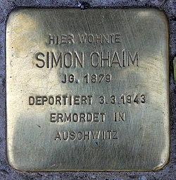 Photo of Simon Chaim brass plaque