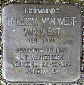 Stolpersteine Amsterdam, Rebecca van West - van West (Rechtboomssloot).jpg