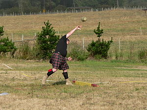 Stone put - The stone put event at the 2005 Whidbey Island Highland Games