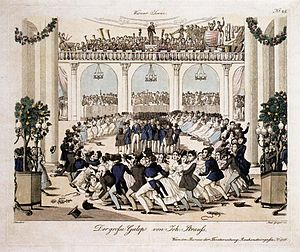 "Galop - Copper engraving of the ""Great Galop"" of Johann Strauss (1839)."