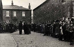 Blackburn - Strike of cotton mill workers in 1920 in Cowell Street in the Nab Lane area