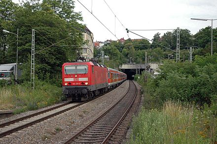 Regionalbahn train on the long-distance tracks (June 2006)
