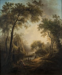 Summer Landscape with Water and Tall Trees