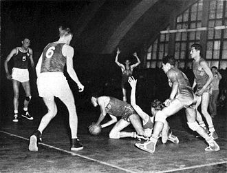 Finland national basketball team - Finland playing against Mexico at the 1952 Helsinki Olympics